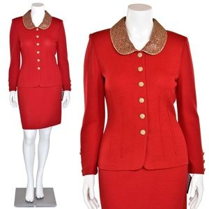 St. John Evening 3Pc Real Red / Gold Suit